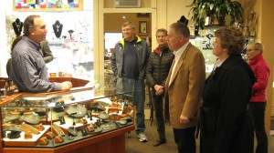 A.J. Balukoff and Bert Marley tour McCall shops
