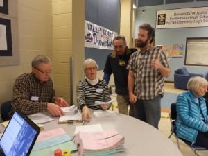 John Schott, Sue Ann Epps, Jean-Claude Aymon and Matt Ganz at the counting table