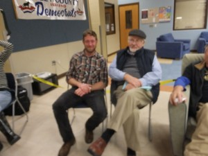 Sean Gould and Frank Eld at caucus